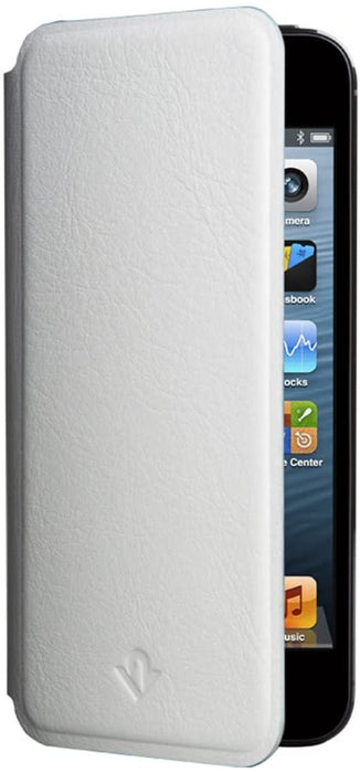 front view of white leather phone case