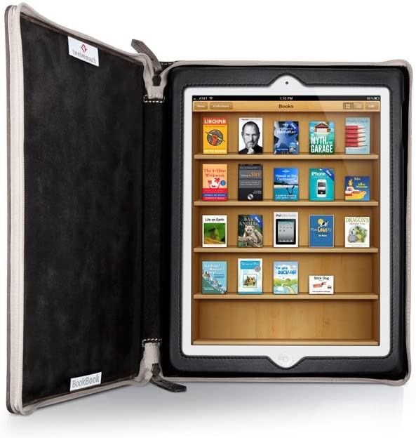 Brown Bookbook case open with iPad inside of it