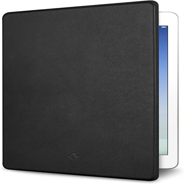 Black surfaced cover for iPad half open with side of an iPad screen peaking out