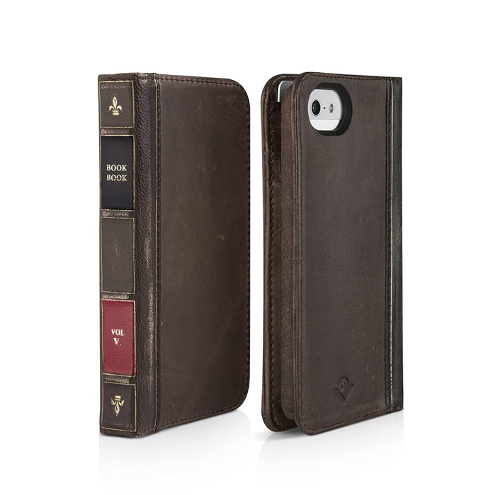 book book leather phone case front and back view
