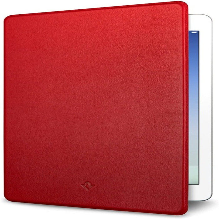 Red surfaced cover for iPad half open with side of an iPad screen peaking out