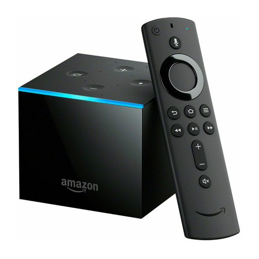 Amazon fire tv cube with remote leaning against it