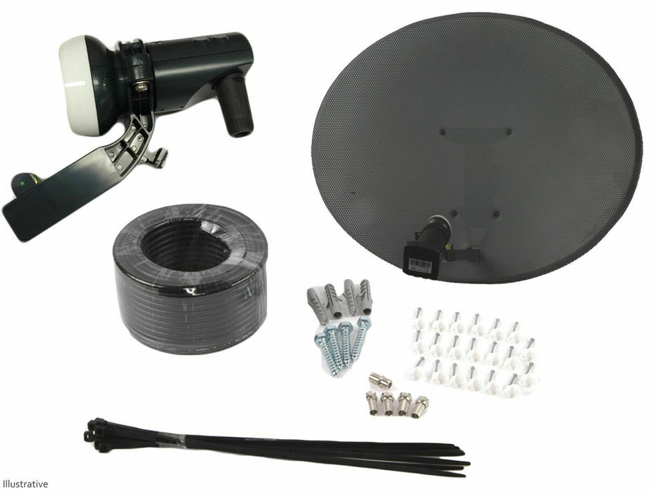 Zone 2 Satellite Dish With Single LNB & Installation Kit