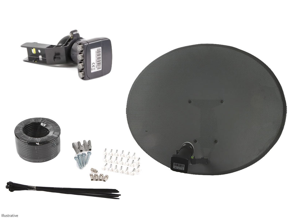 Zone 1 Satellite Dish With Quad LNB & Installation Kit