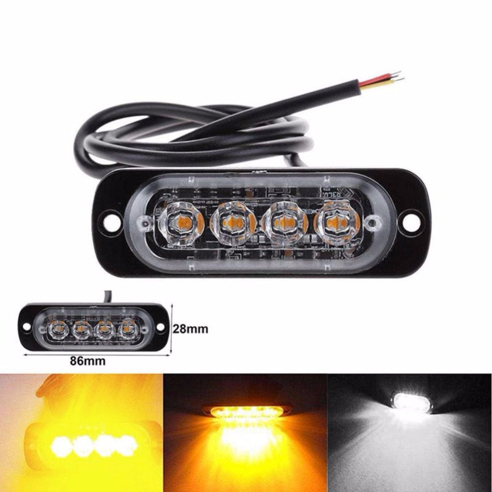 6 LED Car Dash Emergency Warning Traffic Strobe Flash Light Lamp Amber White 12V