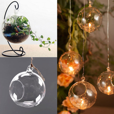 Clear Glass Round Hanging Candle Tea Light Holder Candlestick Home 8CM