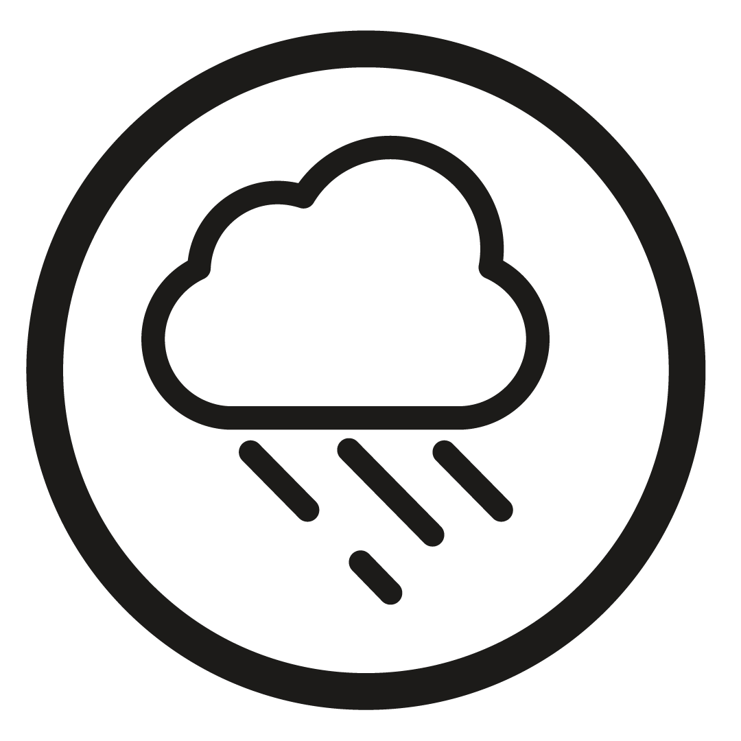 Balck cloud and rain icon for separation anxiety