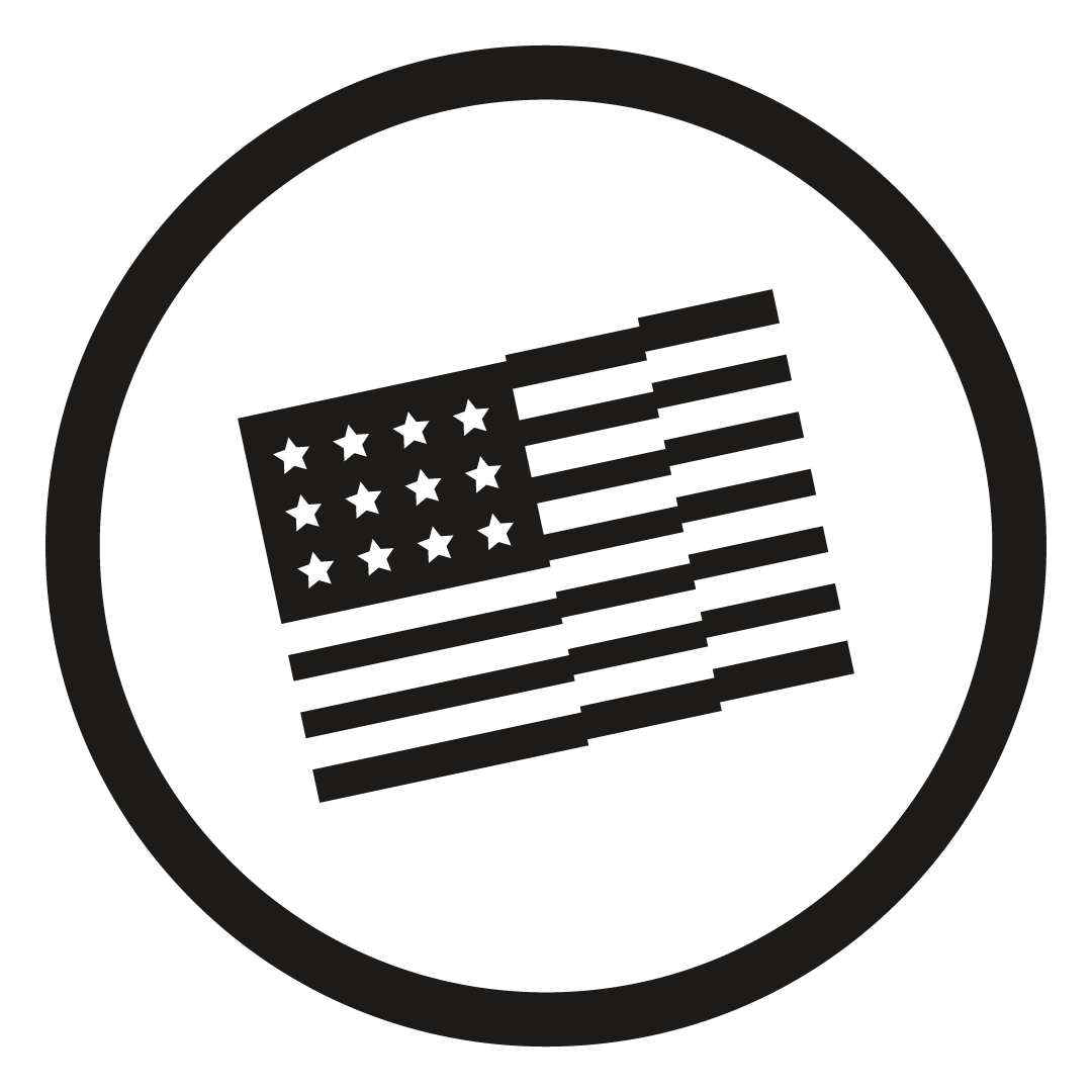 Balck Icon with American flag