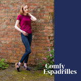 This Comfy Espadrille ShoeDolly mid rise slingback espadrille wedge combines our classic navy blue color in a comfortable mid rise 6cm 2.5 inch wedge heel. The jute wedge heel in tan takes this espadrille wedge heel from summer to fall. The classic navy blue color wedge heel is a timeless classic. The navy blue wedge heel espadrille will match any outfit. ShoeDolly espadrilles are comfortable and perfect for weddings, parties as well as holidays and city breaks.