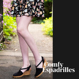 This Comfy Espadrille ShoeDolly mid rise slingback espadrille wedge combines our best selling Black color in a comfortable mid rise 6cm 2.5 inch tan wedge heel. The  jute wedge heel in a tan color gives this classic black favourite a trendy twist , taking you from summer to fall