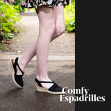 This Comfy Espadrille ShoeDolly low rise slingback espadrille wedge combines our best selling Black color in a comfortable low rise 5cm 2 inch wedge heel. The jute wedge heel in a natural color gives this classic black favourite a summery comfortable  lift.