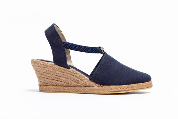 ShoeDolly Navy City - Tan Mid Heel