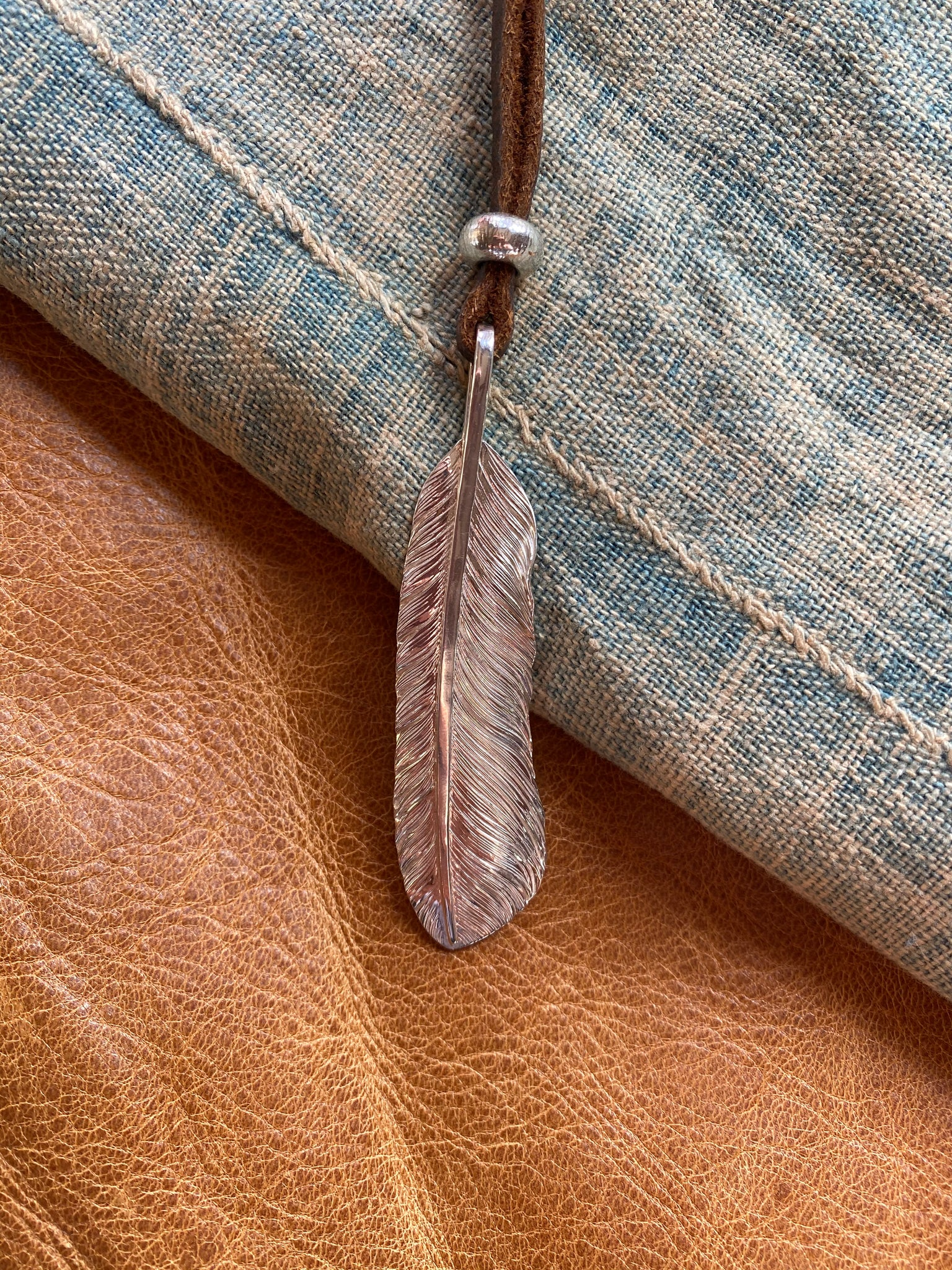 Large Sterling Feather Necklace