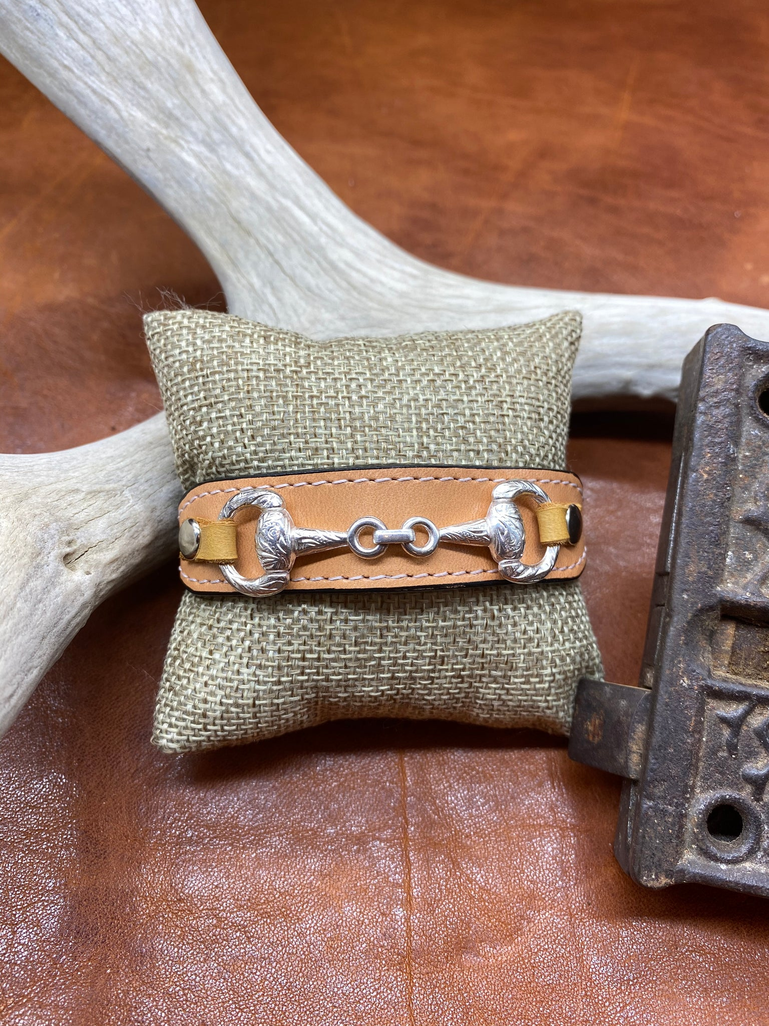 Tan Leather & Horse Bit Buckle Bracelet