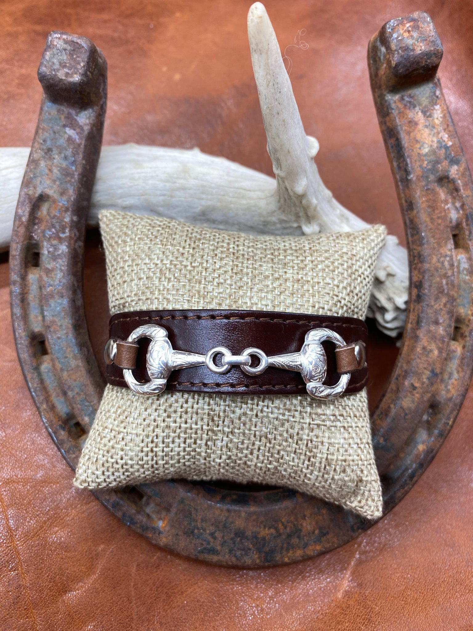 Brown Leather & Horse Bit Buckle Bracelet