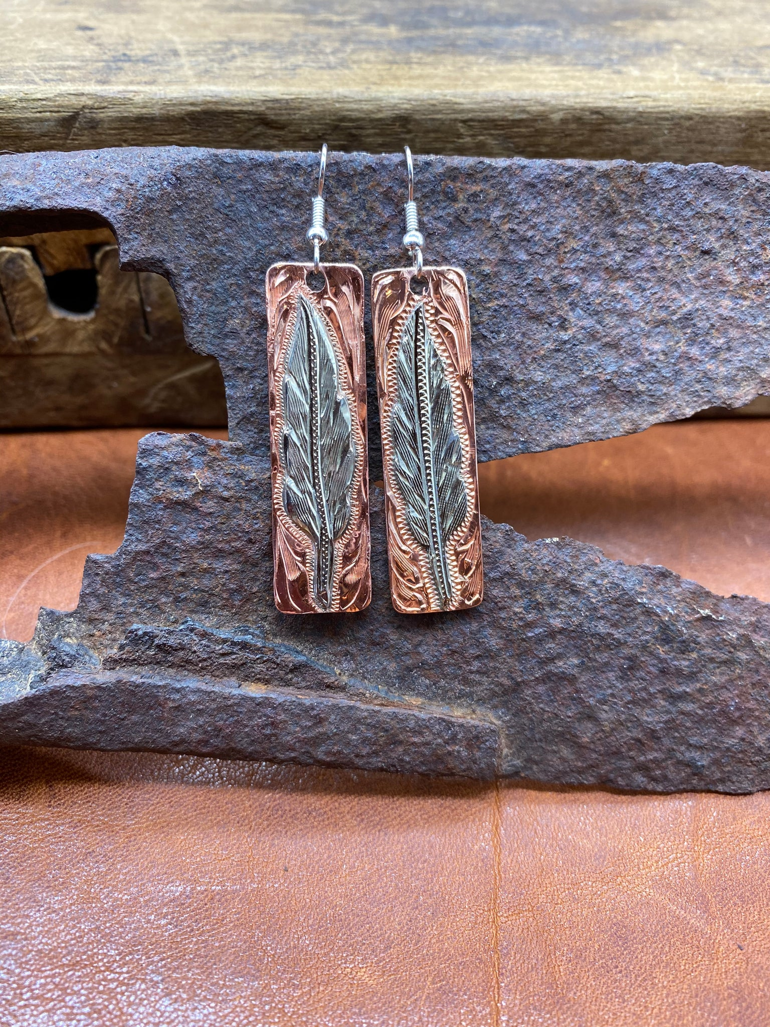 Silver Feather on Copper Earrings