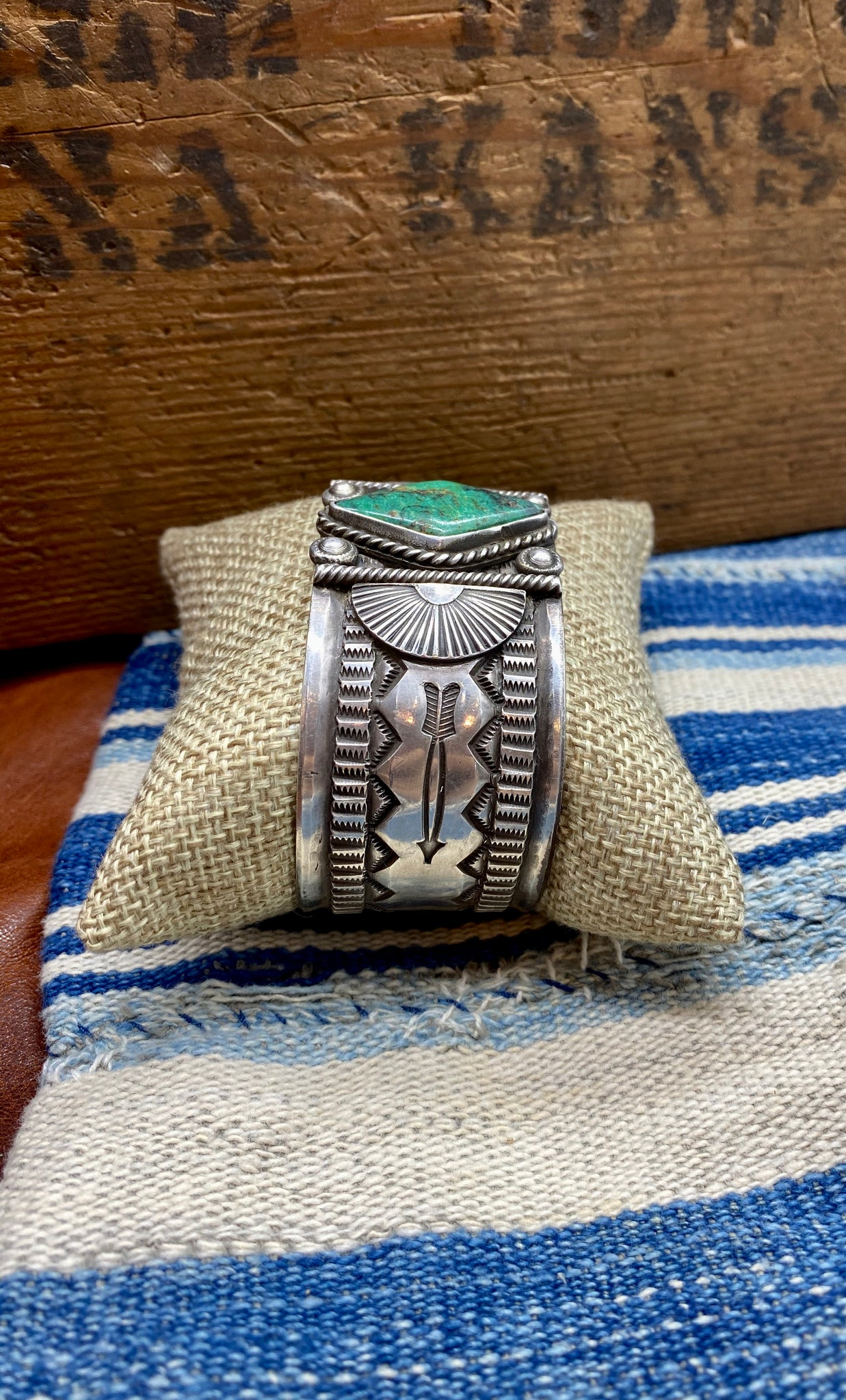 Vintage Sterling Diamond Turquoise Cuff