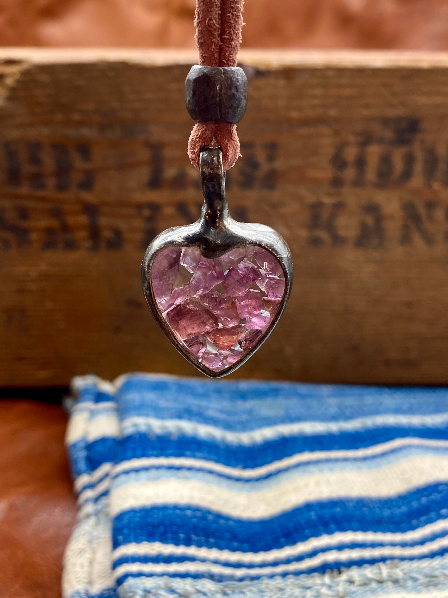 Frozen in Time Raw Garnet Heart Necklace