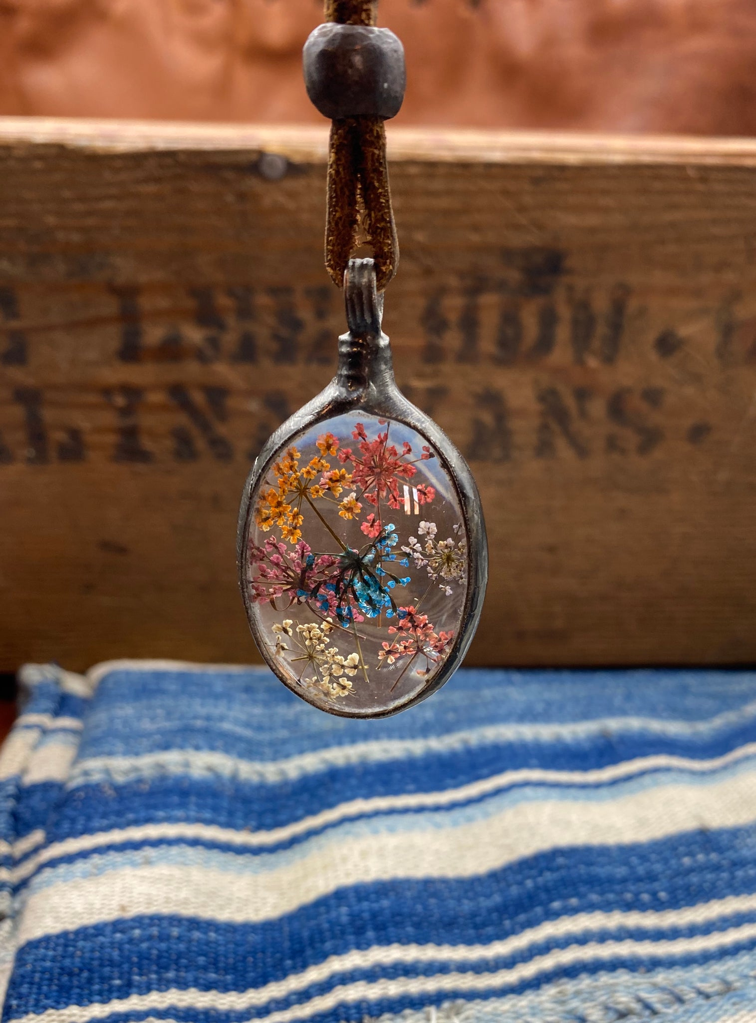 Frozen in Time Oval Floral Necklace