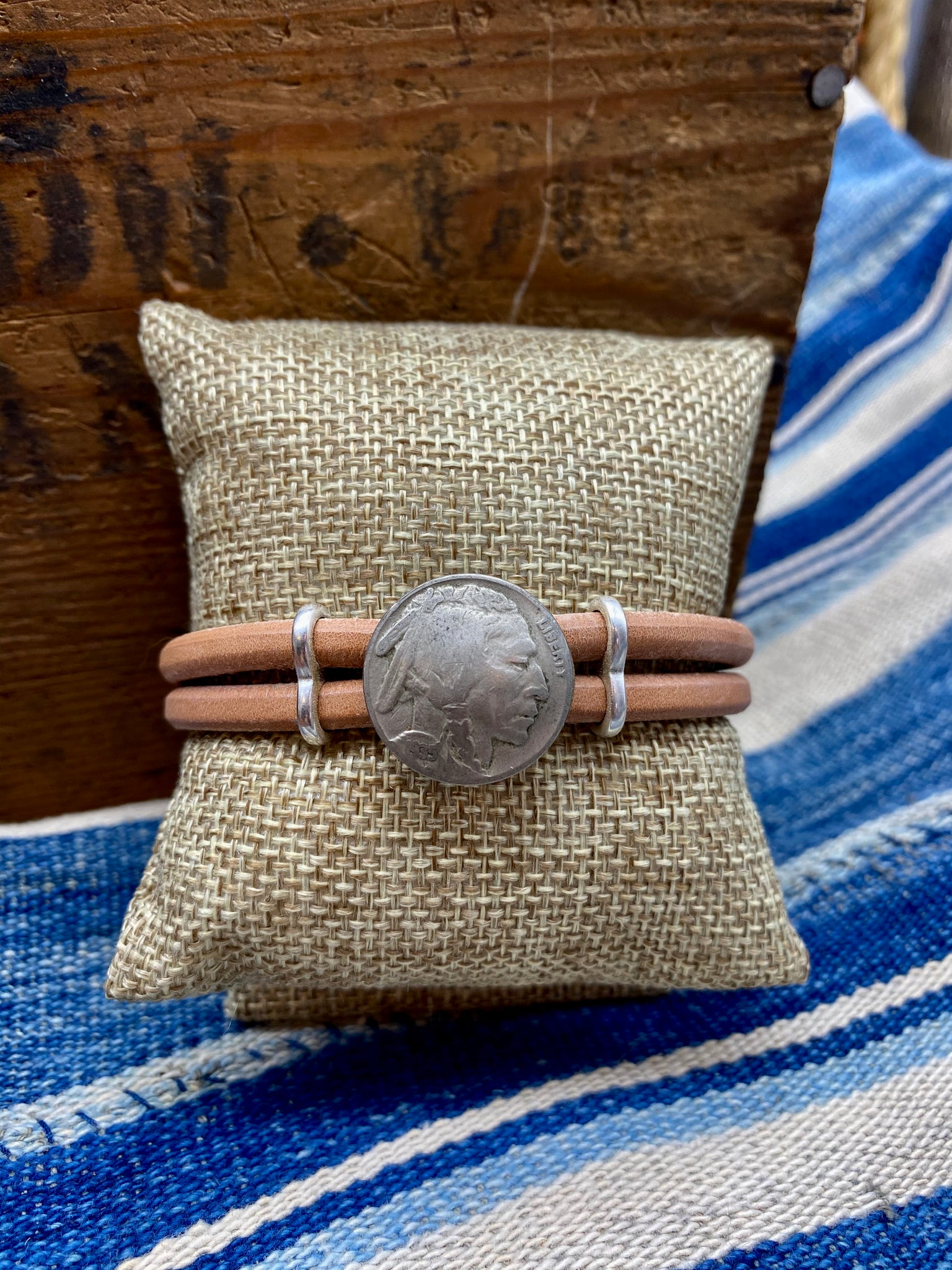 Vintage Indian Nickel Leather Bracelet