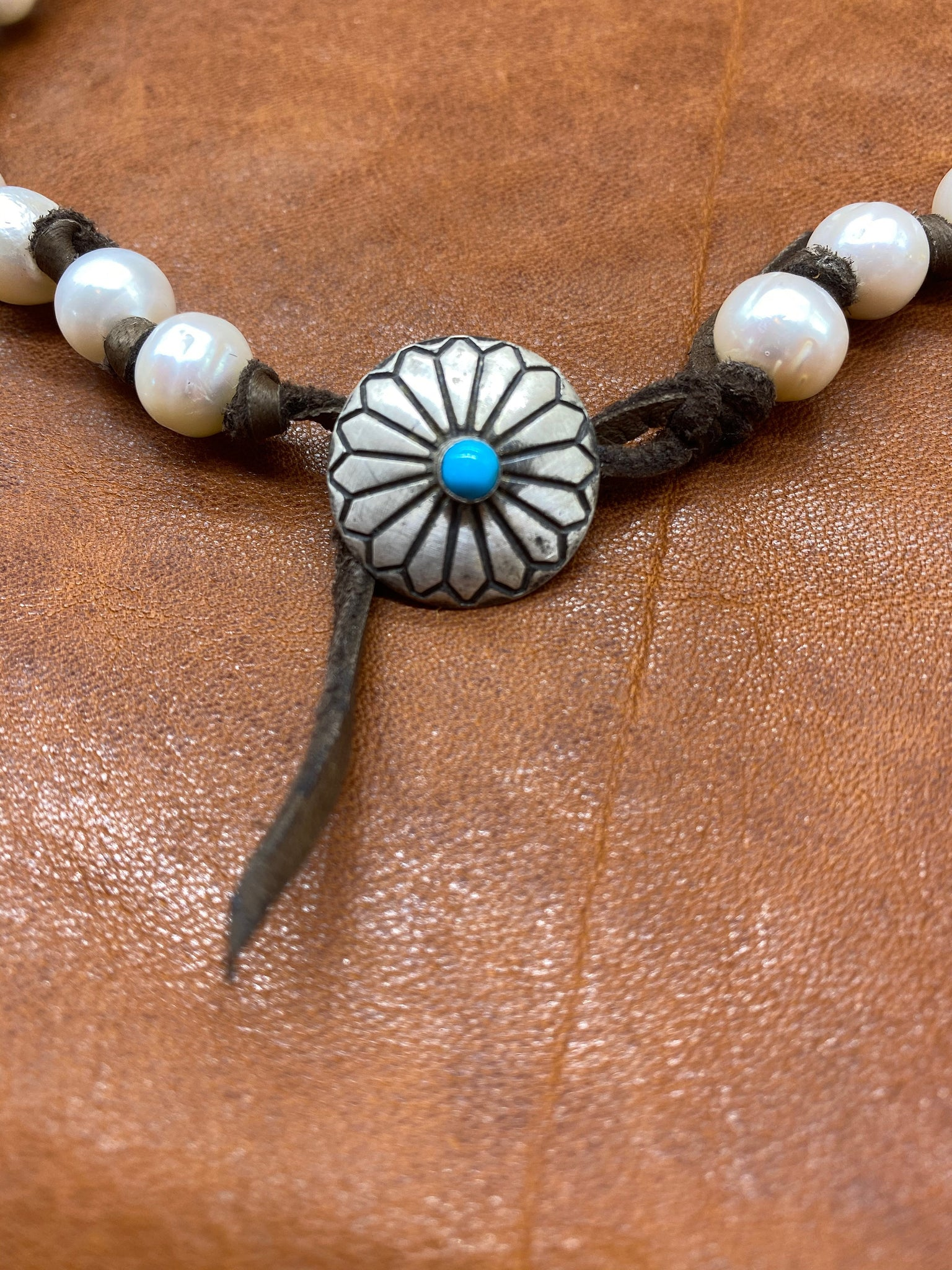 Leather & Pearl Necklace with Sterling Concho
