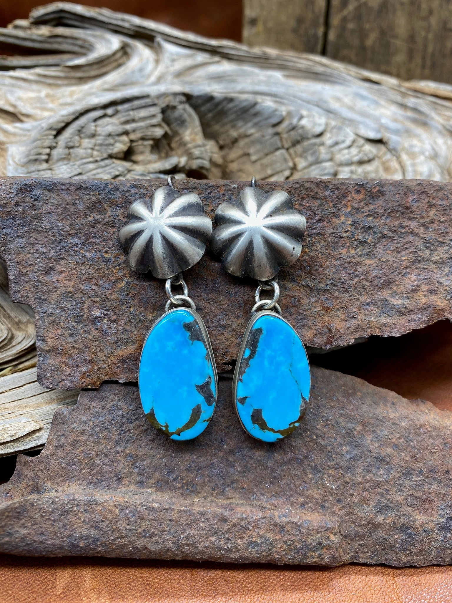 Kingman Turquoise & Sterling Fluted Concho Earrings
