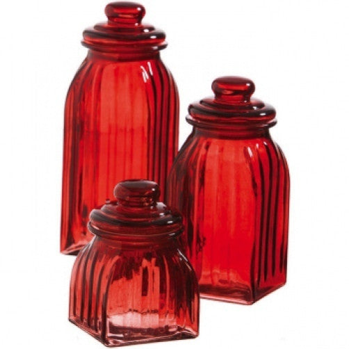Glass 3 Piece Red Canister Set Canisters | Niecey\'s Kitchen