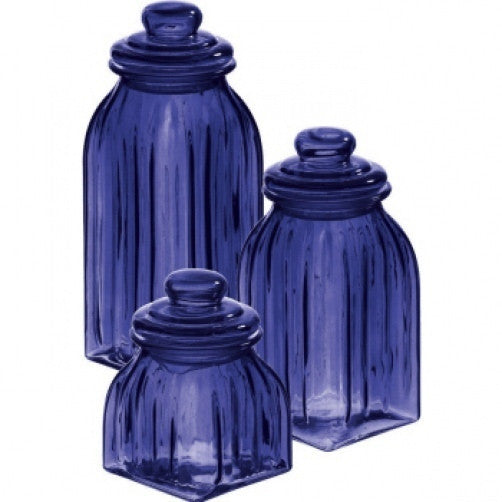 Glass 3 Piece Cobalt Blue Canister Set Canisters Niecey S Kitchen