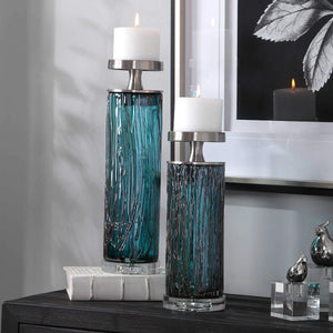 DALUCÍA TEAL GLASS CANDLE HOLDERS | SET OF 2
