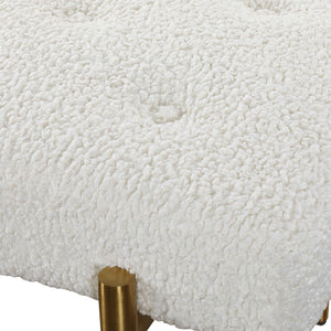 OLIVIER WHITE FAUX SHEARLING BENCH