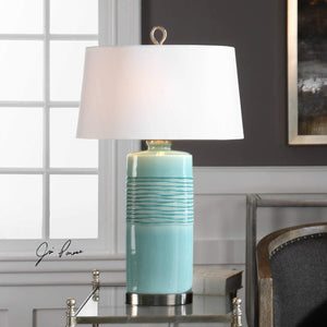 RILA AQUA BLUE CERAMIC OVAL LAMP