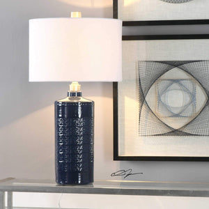 ROYAL BLUE GLAZE EMBOSSED CERAMIC LAMP