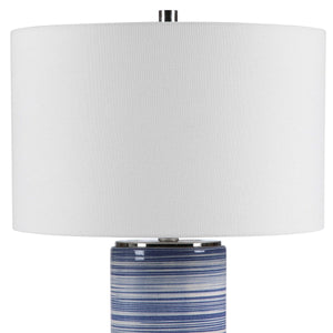 WHITE + INDIGO STRIPED CERAMIC TABLE LAMP
