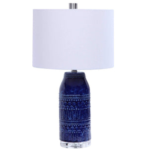 TRIBAL EMBOSSED BLUE GLAZE TABLE LAMP