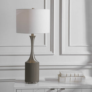 PITMAN RIBBED CONCRETE TABLE LAMP