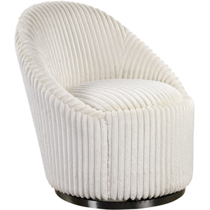 MINKA FLUTED SHERPA CHENILLE SWIVEL CHAIR