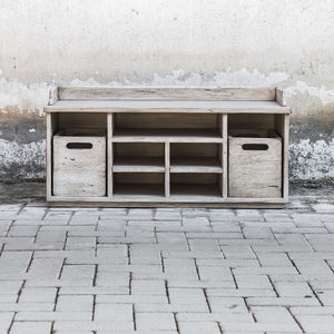 RUSTIC WHITE STORAGE BENCH