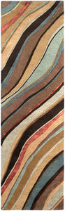 CARVED LINES WOOL RUG: DESERT MULTI
