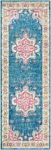 CHELSEY RUG: BLUE, CORAL