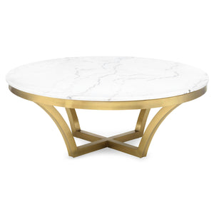 AURORA MARBLE + BRUSHED GOLD COFFEE TABLE