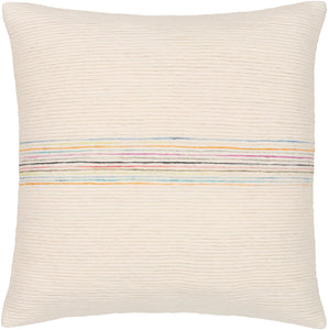SNOWY TEXTURED COTTON PILLOW: MULTI STRIPE
