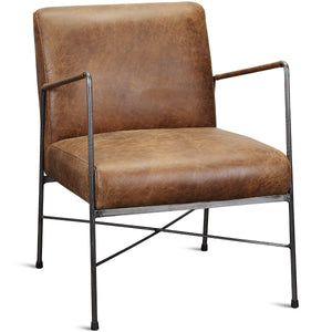 DAGWOOD VINTAGE BROWN LEATHER ARM CHAIR