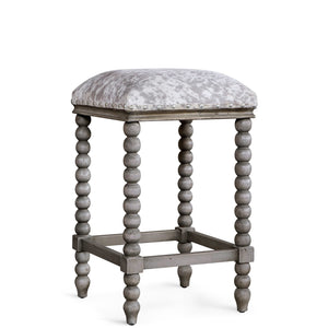 DHARMA FRENCH GREY + FAUX HIDE COUNTER STOOL