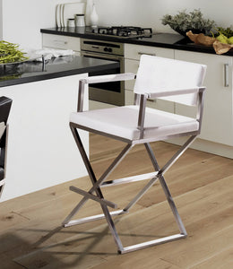DIRECTOR BAR STOOL: WHITE | STAINLESS