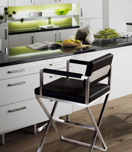 DIRECTOR COUNTER STOOL: BLACK | STAINLESS