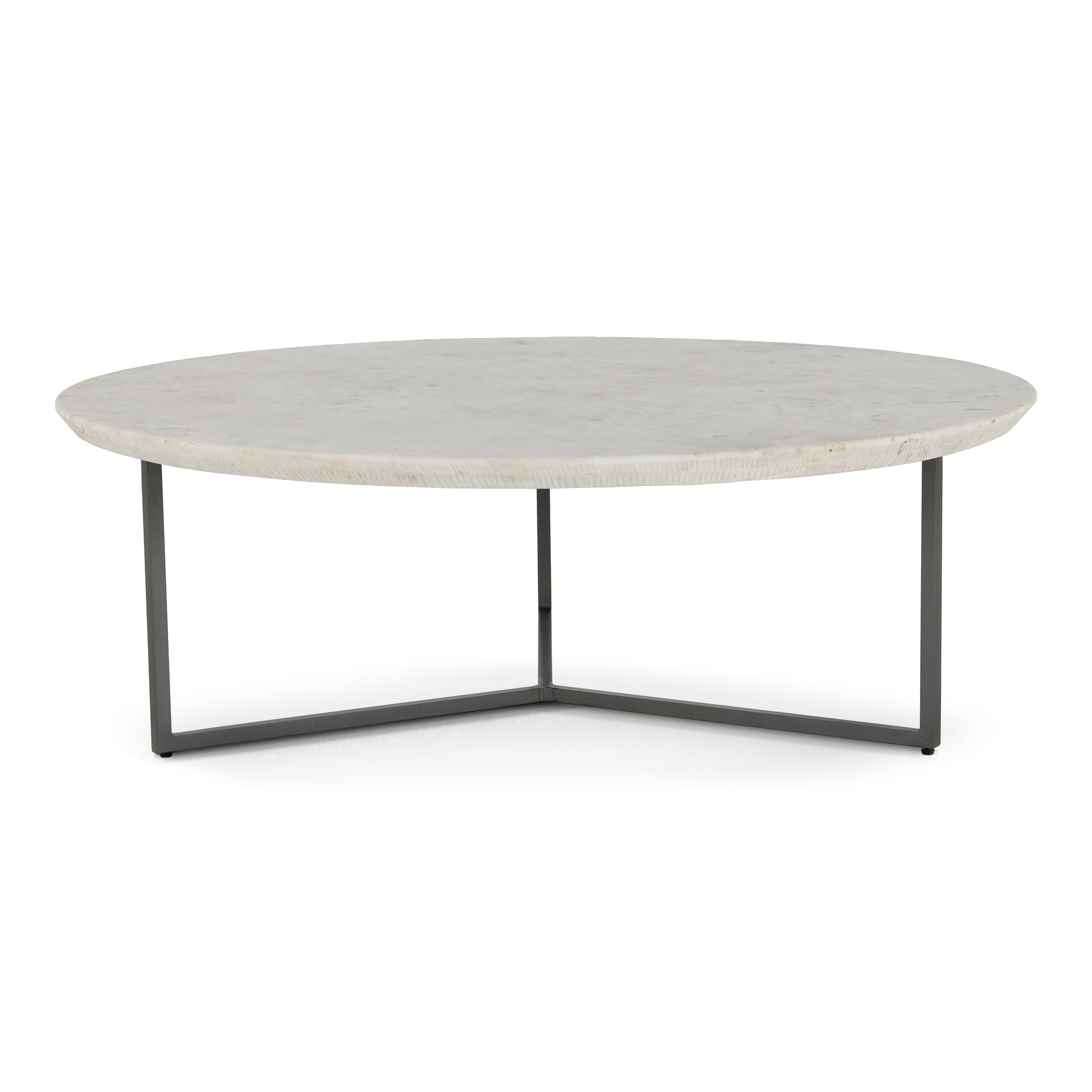 Etched 48 Round White Marble Coffee Table The Design Tap