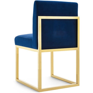 GLAM BLUE VELVET DINING CHAIR