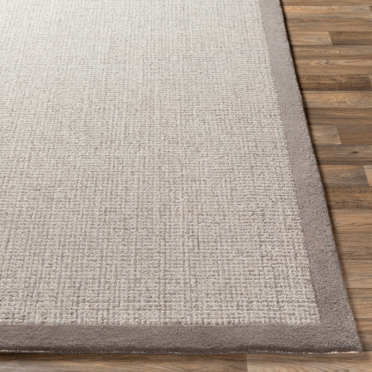 Hand Tufted Wool Border Rug Gray The Design Tap