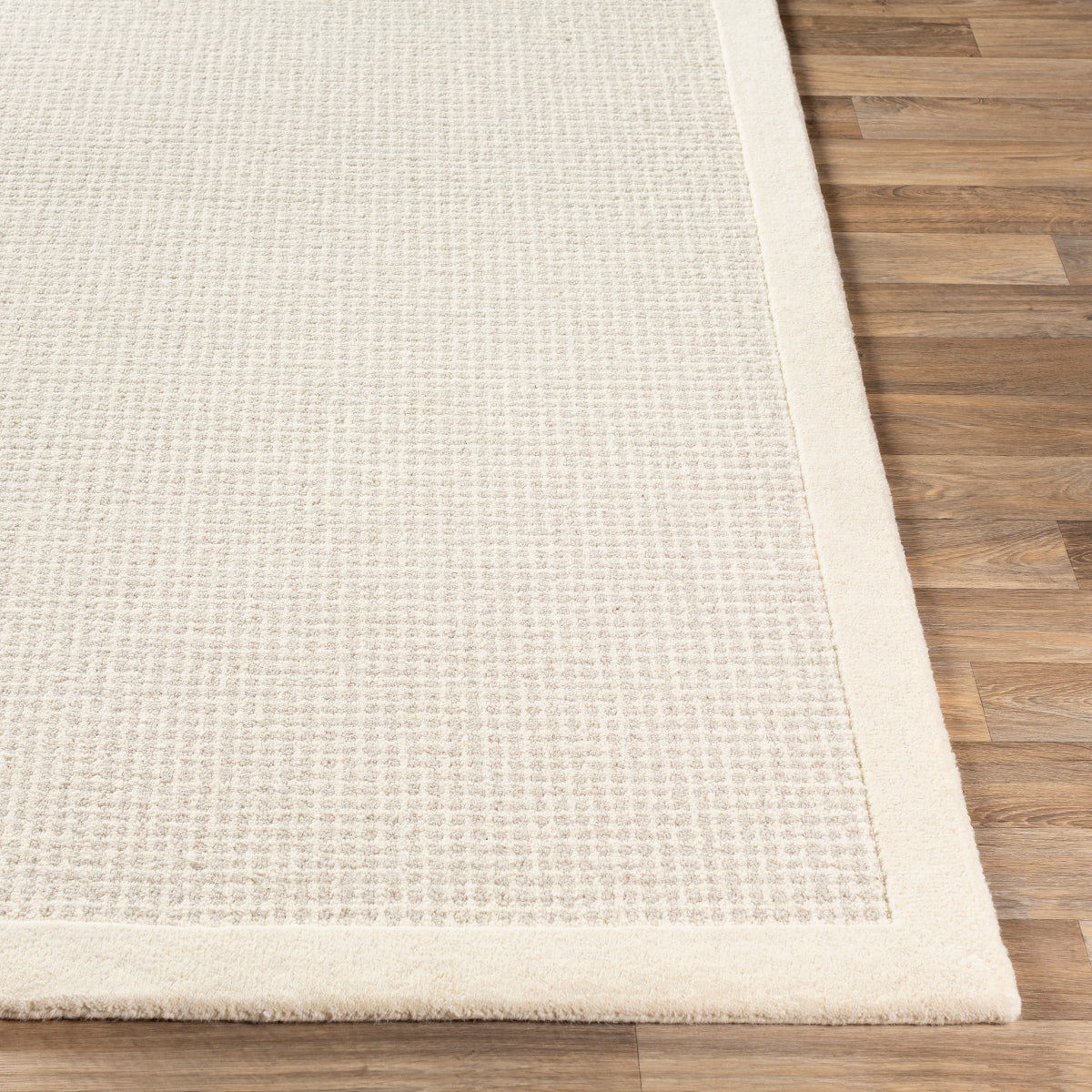 Hand Tufted Wool Border Rug Cream
