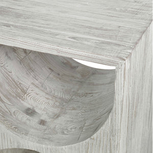 HANS RUSTIC WHITE SIDE TABLE